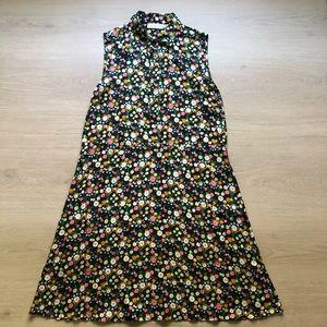 Tory Burch | Black Floral Sleeveless Silk Dress